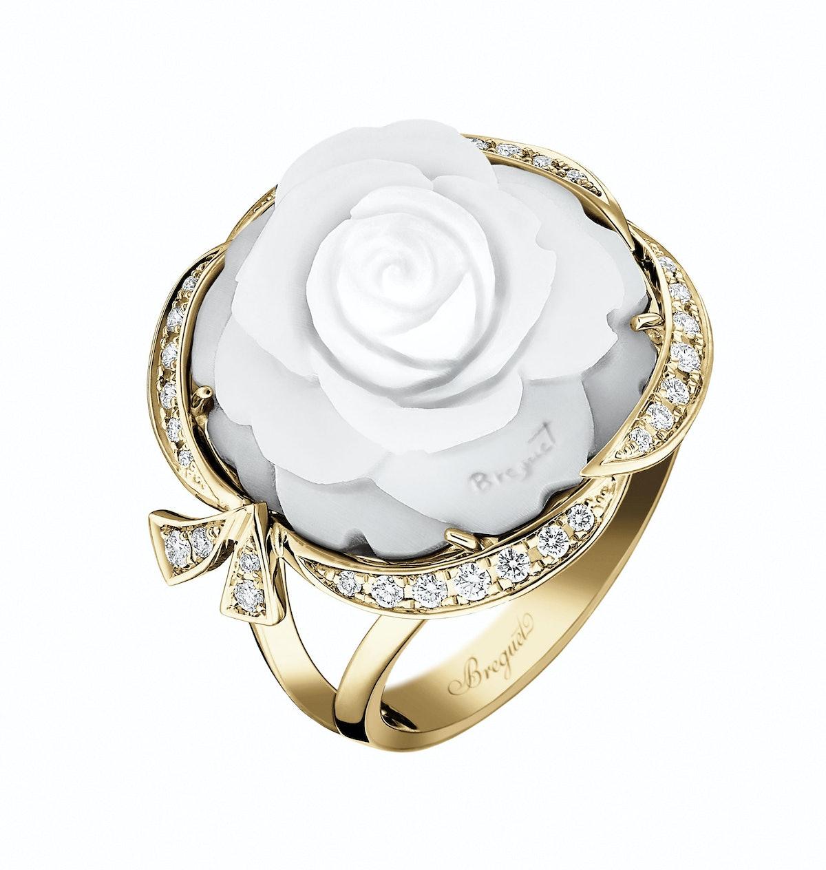 Breguet gold, seashell, and diamond ring, $14,300, [breguet.com](http://www.breguet.com/en/).