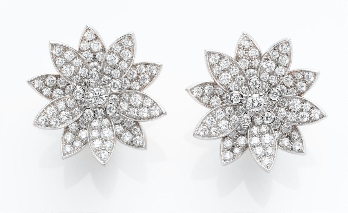Van Cleef & Arpels gold and diamond earrings, $43,300, [vancleefarpels.com](http://www.vancleefarpels.com/us/en/line/8/floral).