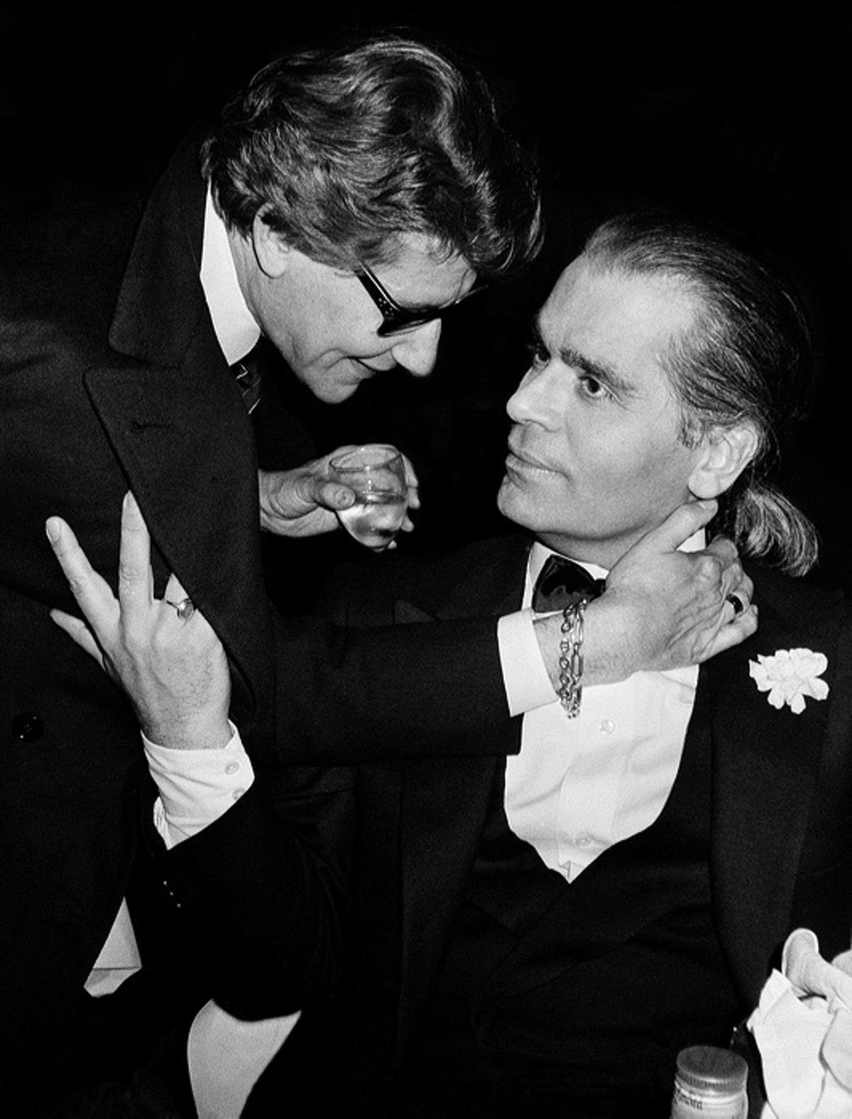 Yves Saint Laurent and Karl Lagerfeld, Le Palace's 5th Anniversary, 1983.