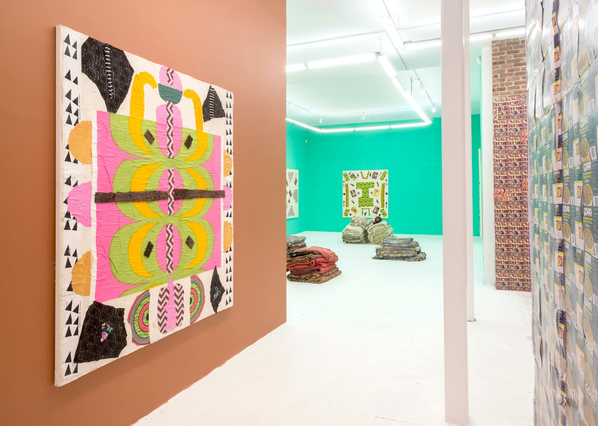 """An installation view featuring """"Marrimekko,"""" 2013 by Katherine Bernhardt. Courtesy of The Hole."""