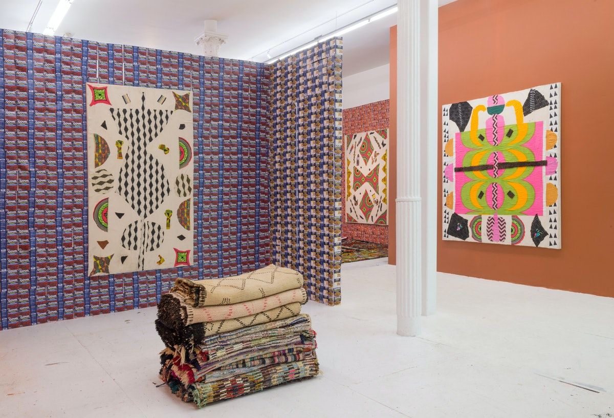 A view of the installation featuring works by Katherine Bernhardt and Youssef Jdia. Courtesy of The ...