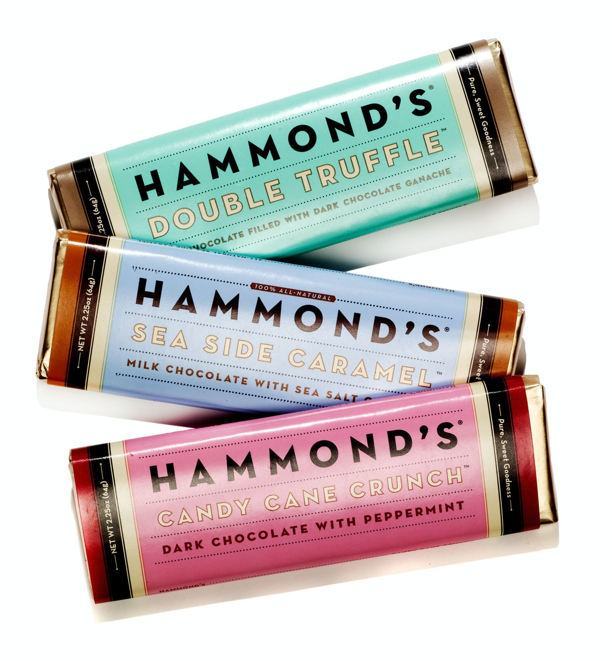 Hammond's Candies Double Truffle, Sea Side Caramel, and Candy Cane Crunch bars, $3 each, [hammondscandies.com](http://www.hammondscandies.com/candy-types/chocolate/chocolate-bar-5-pack).