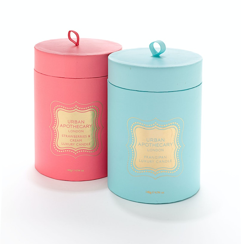 Urban Apothecary London Strawberries & Cream candle and Frangipan candle, $55 each, Bergdorf Goodman, New York, 212.753.7300.
