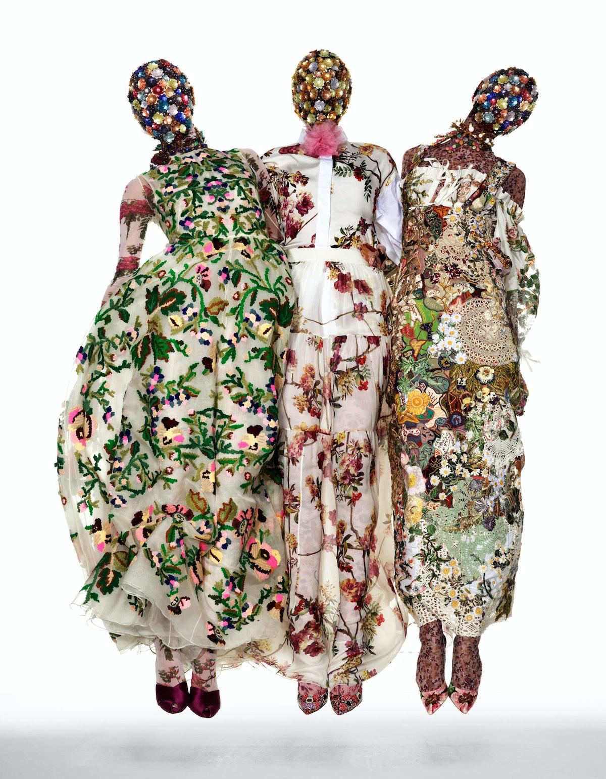 From left: Valentino gown; Erickson Beamon necklaces; Cosabella bodysuit; Giambattista Valli sandals...