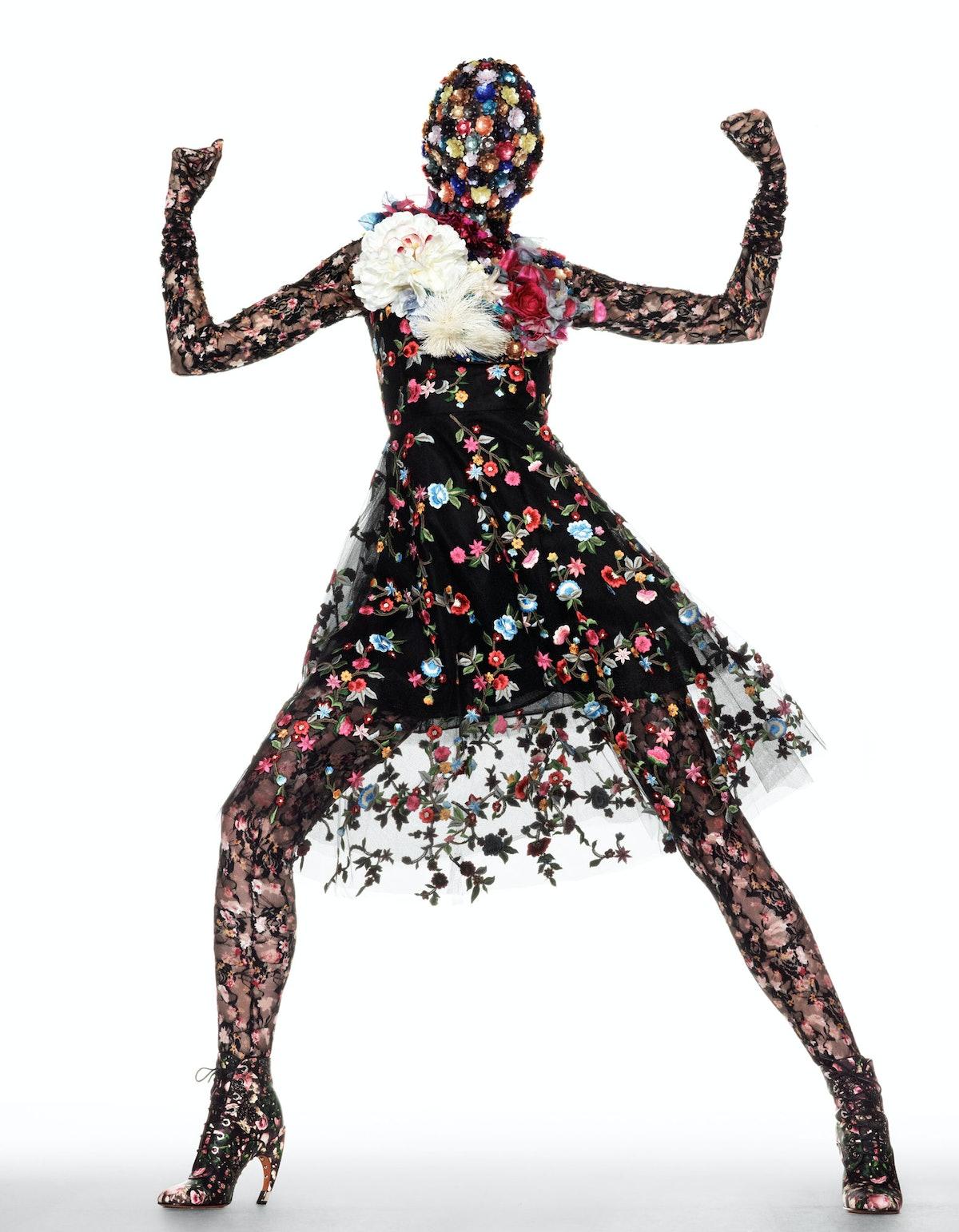 Oscar de la Renta dress; Maison Martin Margiela Artisanal dickey; LaCrasia Gloves gloves; Givenchy b...