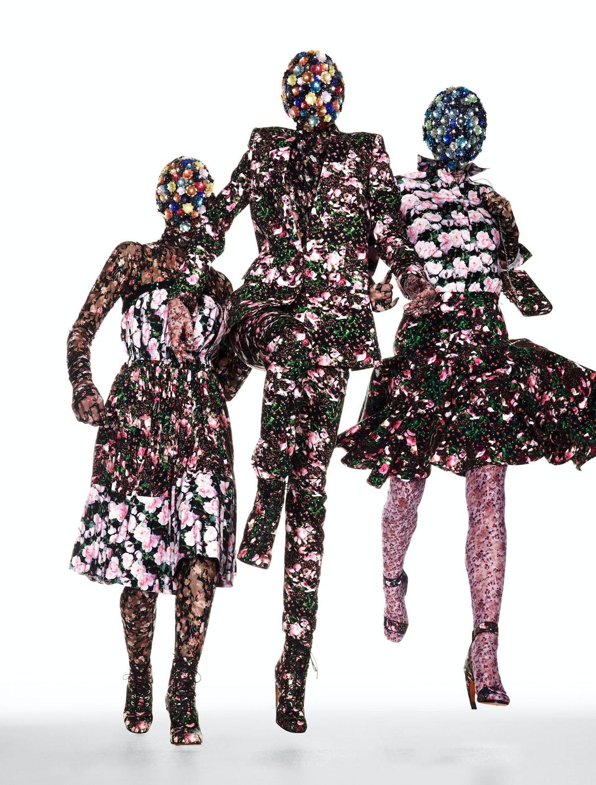 From left: Jill Stuart dress; Cosabella bodysuit; M&S Schmalberg flower (worn on neck); Ebony Fleur ...