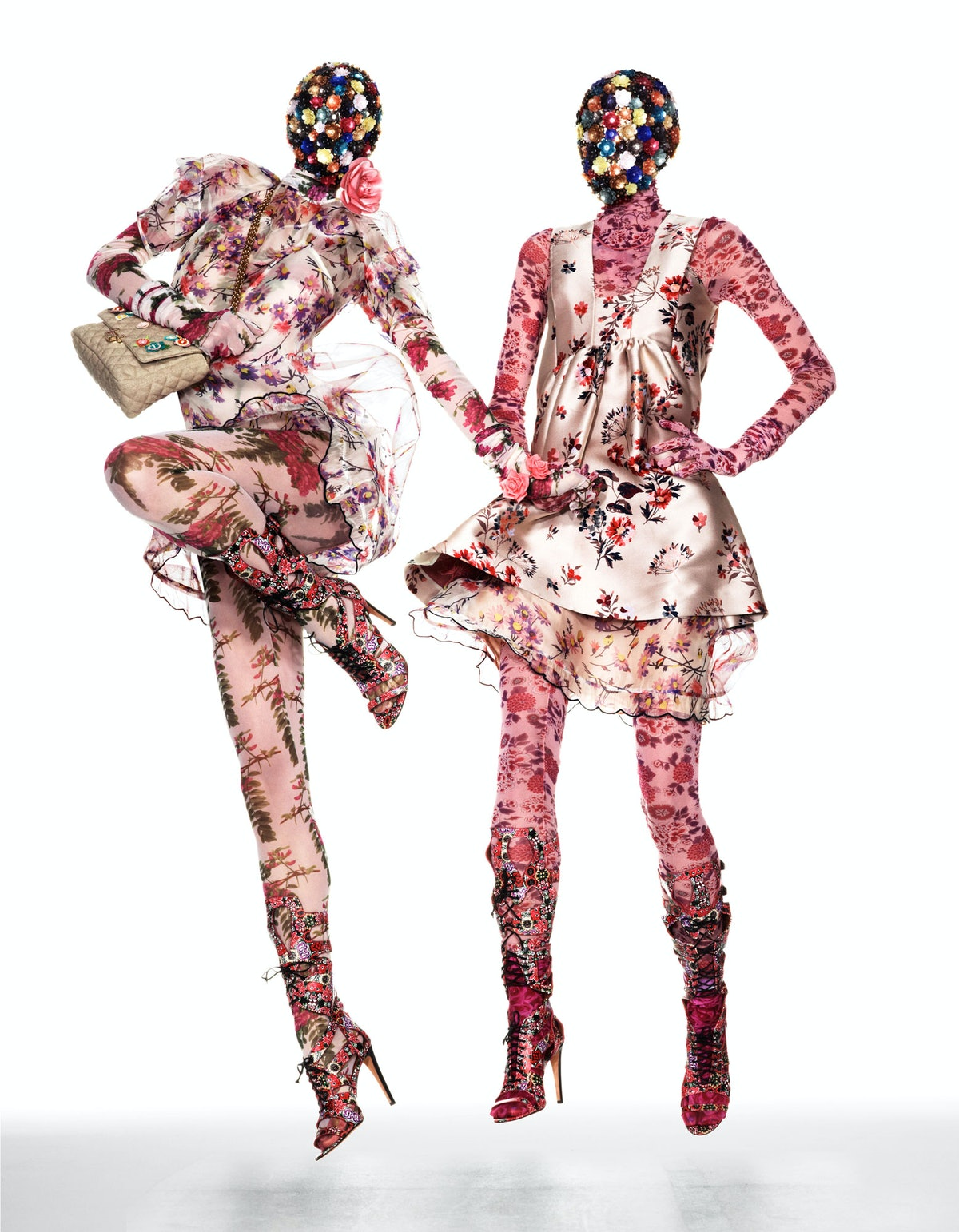 From left: Givenchy by Riccardo Tisci dress and booties; LaCrasia Gloves gloves. Givenchy by Riccard...