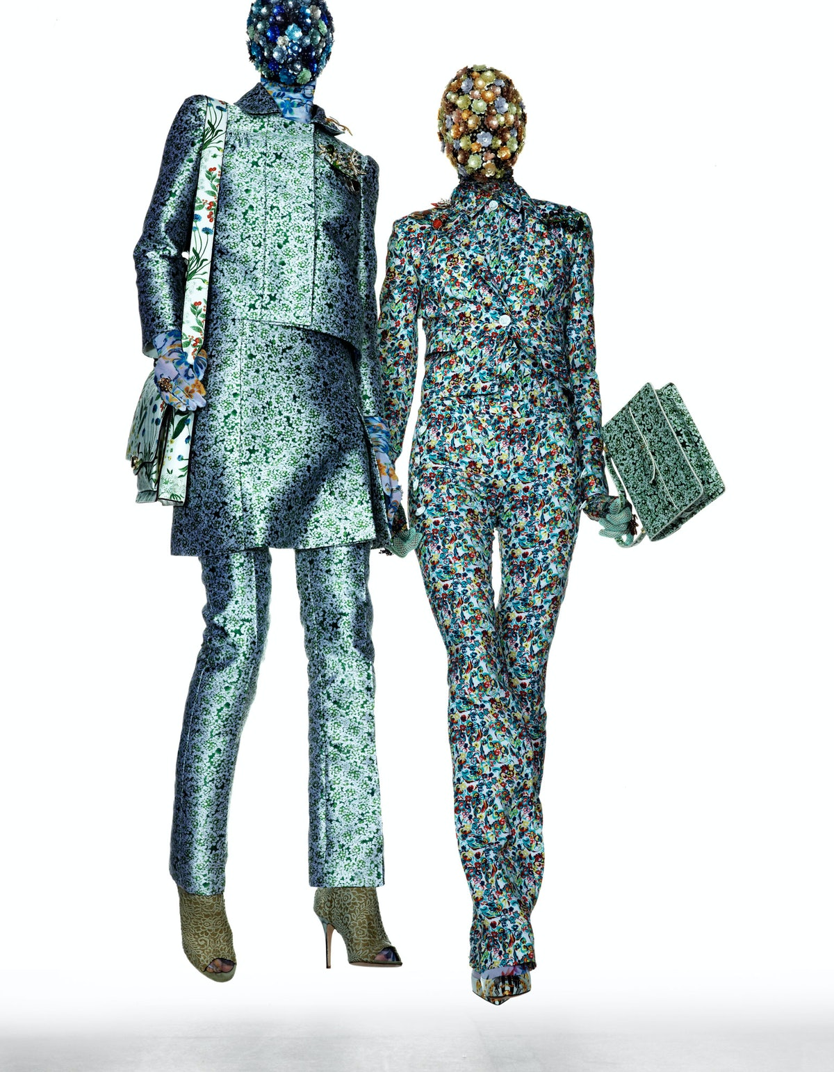 Tory Burch jacket, skirt, pants, and bag; Maison Martin Margiela Artisanal mask; Cosabella bodysuit;...