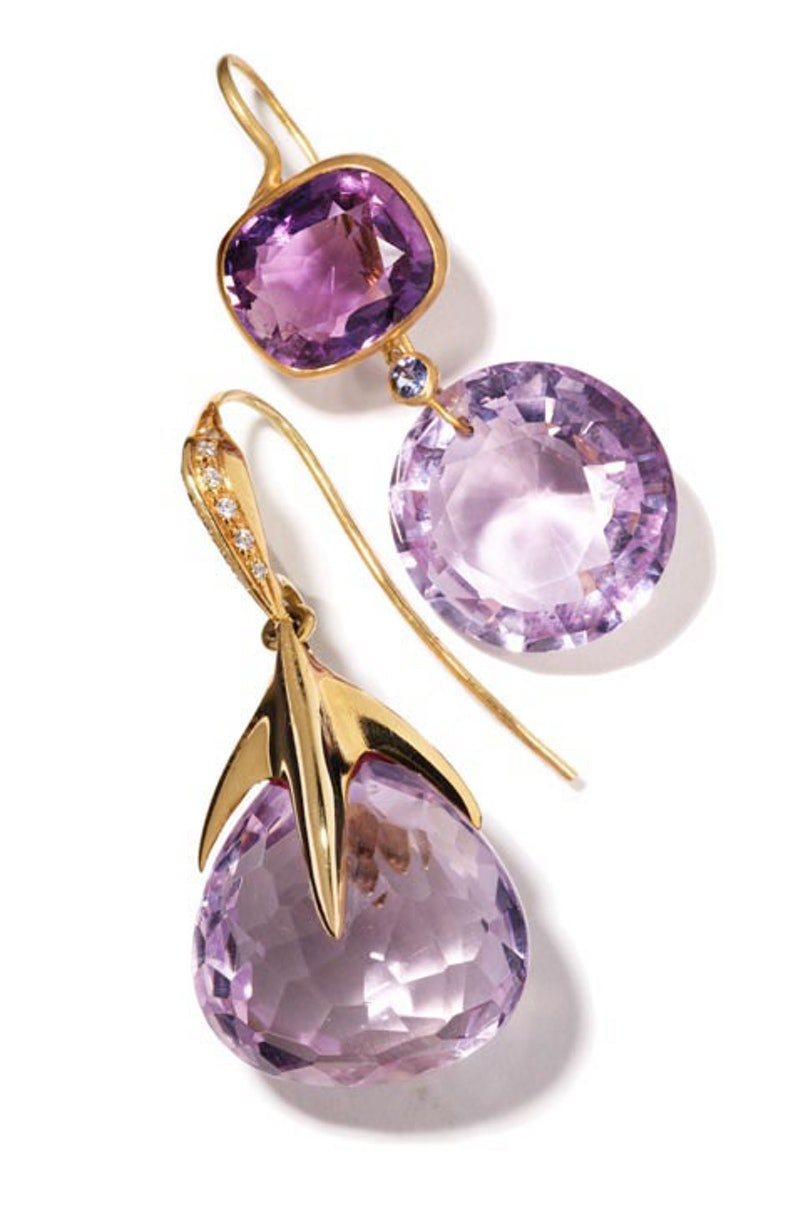__For My Mom__      A perfectly dazzling little something in a deep shade of purple.       Earrings, from top: Marie-Hélène de Taillac, $3,400, MHT, New York, 212.249.0371; Tito Pedrini, $7,600, Broken English, Santa Monica, 310.458.2724