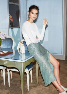 Jason Wu pullover, bra, and skirt; Mish rings and necklace; M2Malletier bag; Gianvito Rossi for Altu...