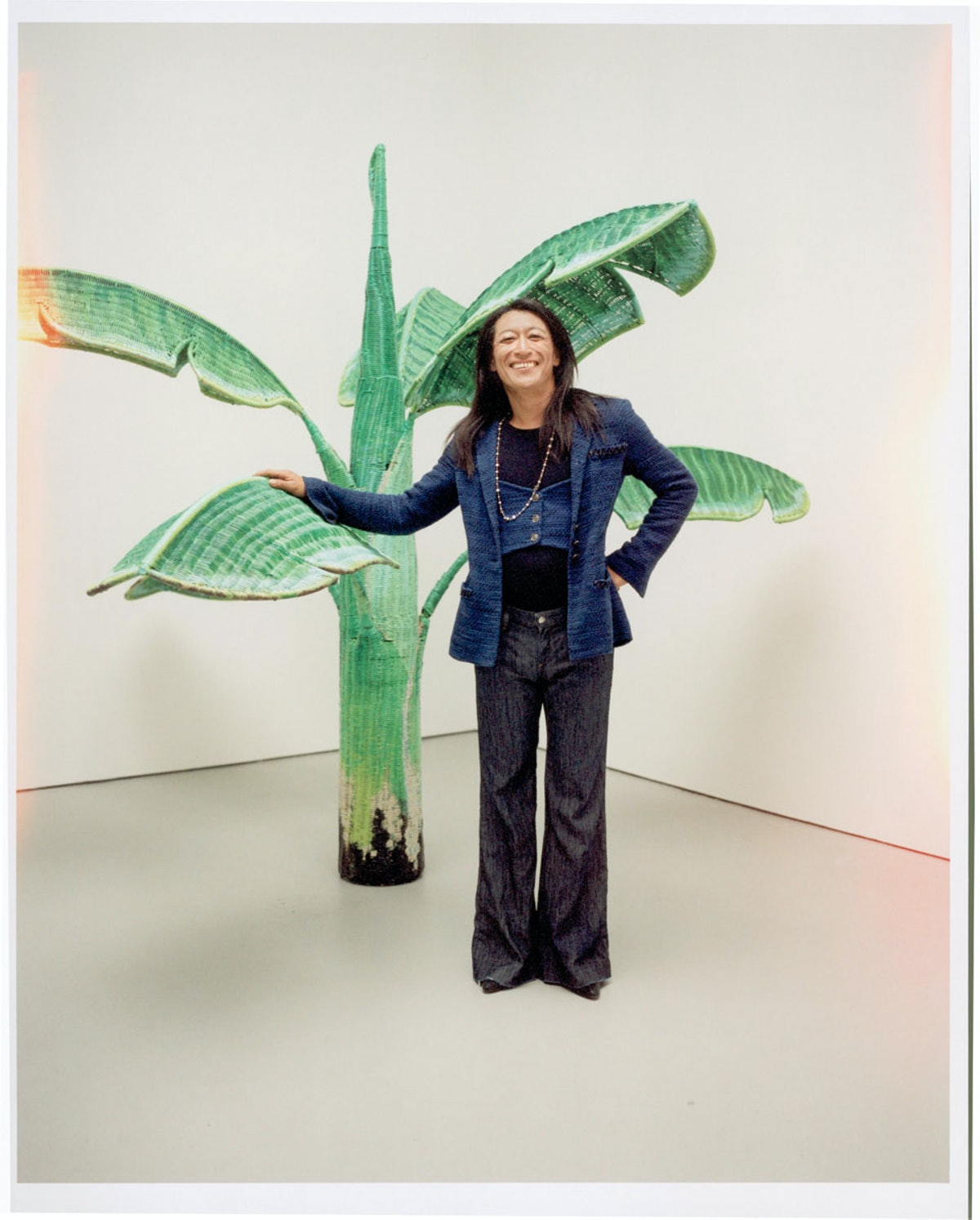 Yutaka Sone in a 2007 Chanel jacket, photographed with his piece Tropical Composition/Banana Tree No...