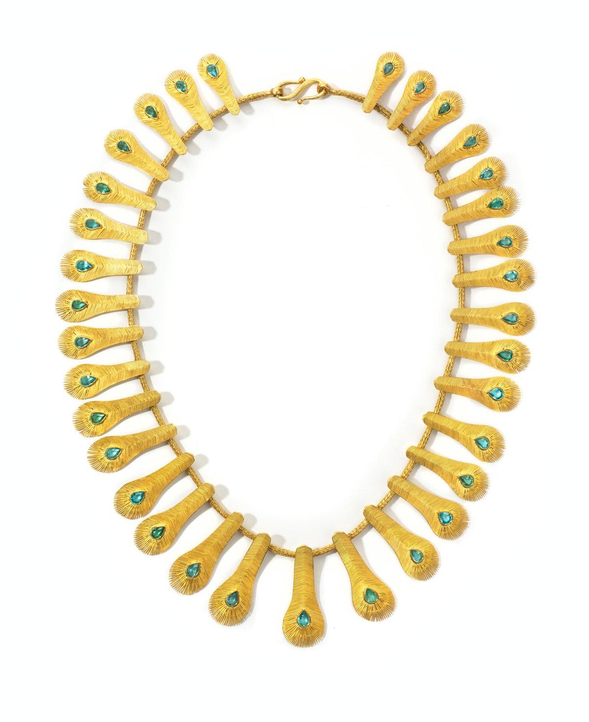 Marie-Hélène de Taillac gold and apatite necklace, $44,845, Marie-Hélène de Taillac, New York, 212.249.0371.