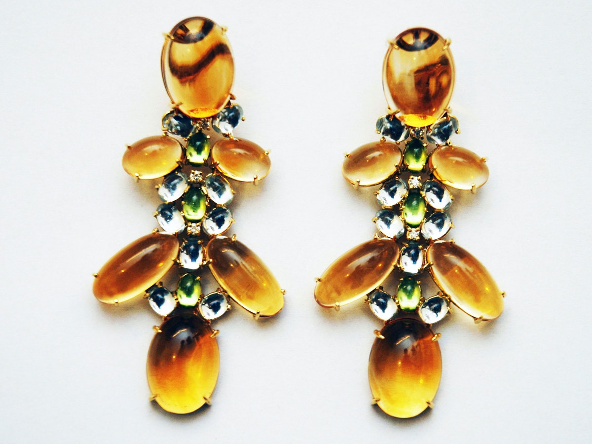 Faraone Mennella gold, citrine, peridot, topaz, and diamond earrings, $8,500, by appointment, Faraone Mennella, New York, 212.752.5990.