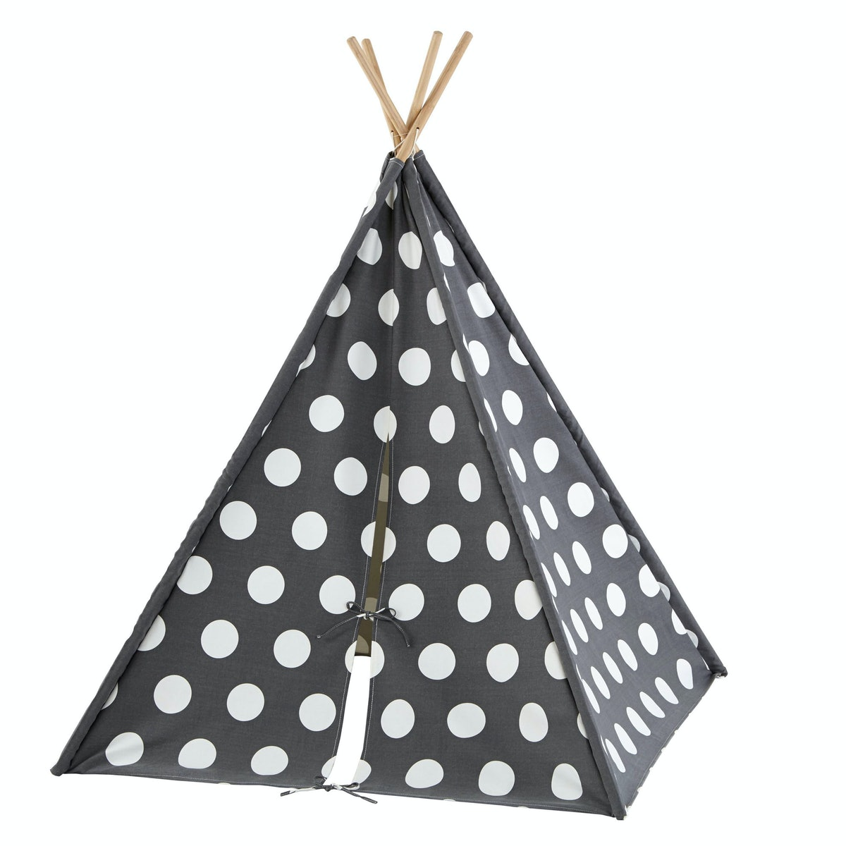 The Land of Nod teepee, $159, [landofnod.com](http://www.landofnod.com/a-teepee-to-call-your-own-grey-and-white-dot/f13154).