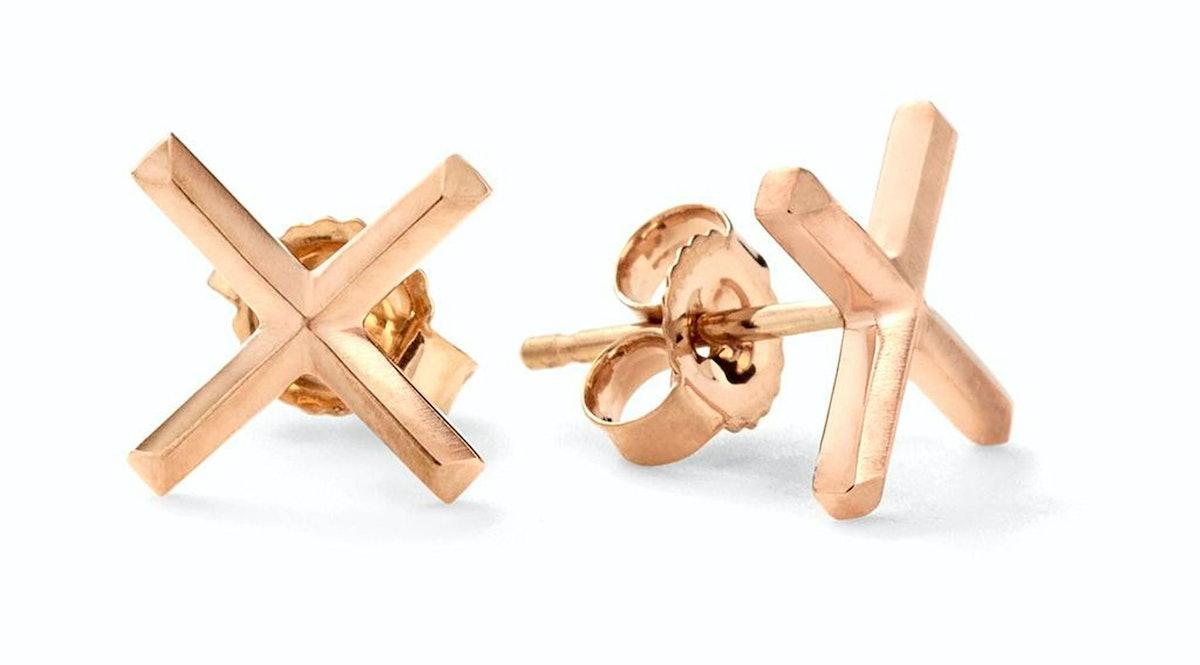 __For the quirky girl:__ Eva Fehren 18k rose gold X Studs, $1430, [barneys.com](http://www.barneys.c...