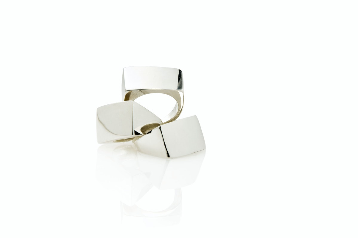 __For the minimalist:__ Jessica Biales sterling silver block Signet rings, $300 each, [jessicabiales...