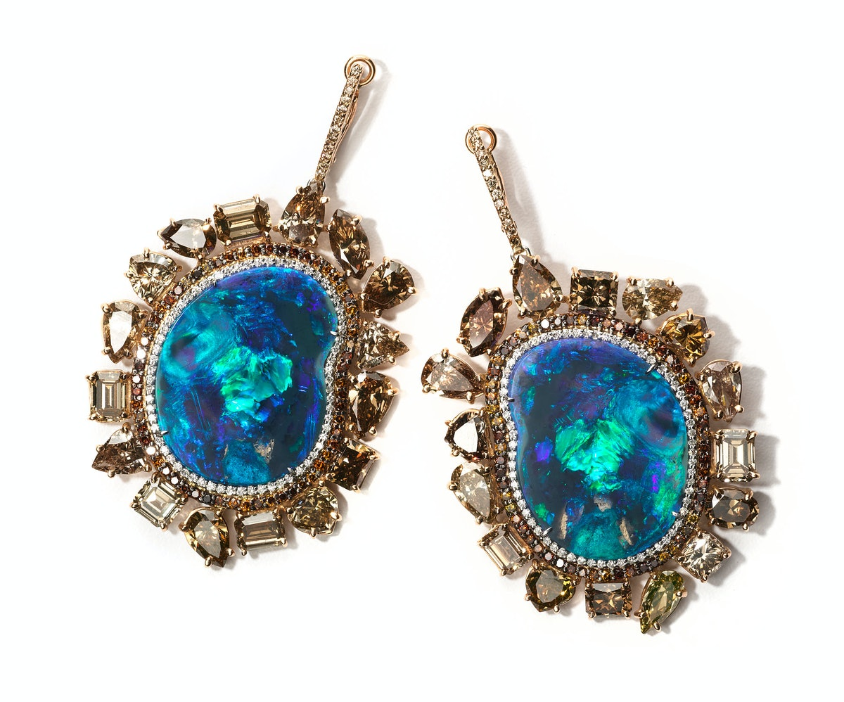 Kimberly McDonald gold, opal, and diamond earrings, price upon request, Kimberly McDonald, West Hollywood, CA, 310.854.0890.