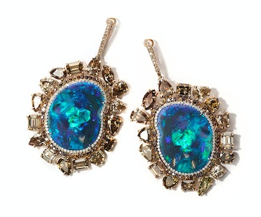 Kimberly McDonald gold, opal, and diamond earrings, price upon request, Kimberly McDonald, West Holl...