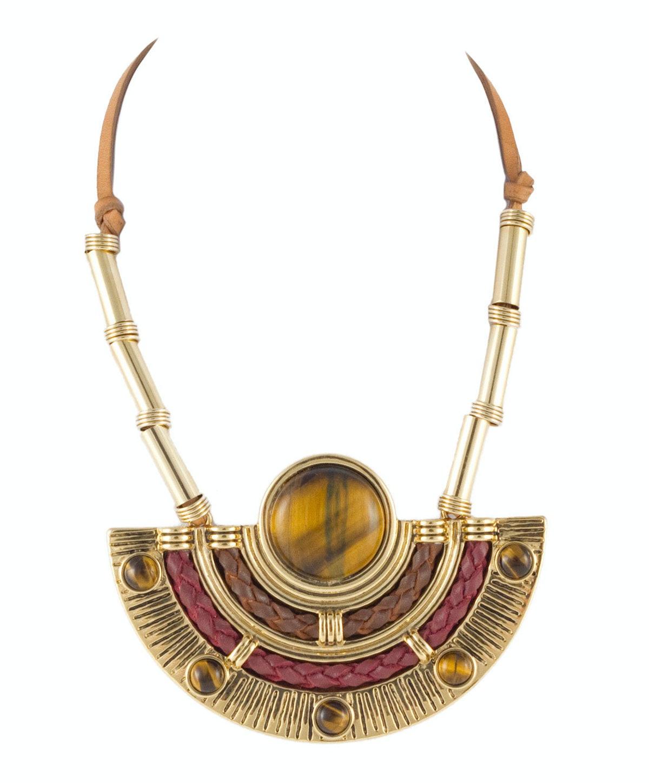 Etienne Aigner necklace, $295, [etienneaigner.com](http://www.etienneaigner.com/jewelry/necklaces/gypsy-tribal-bib-gold-1447).