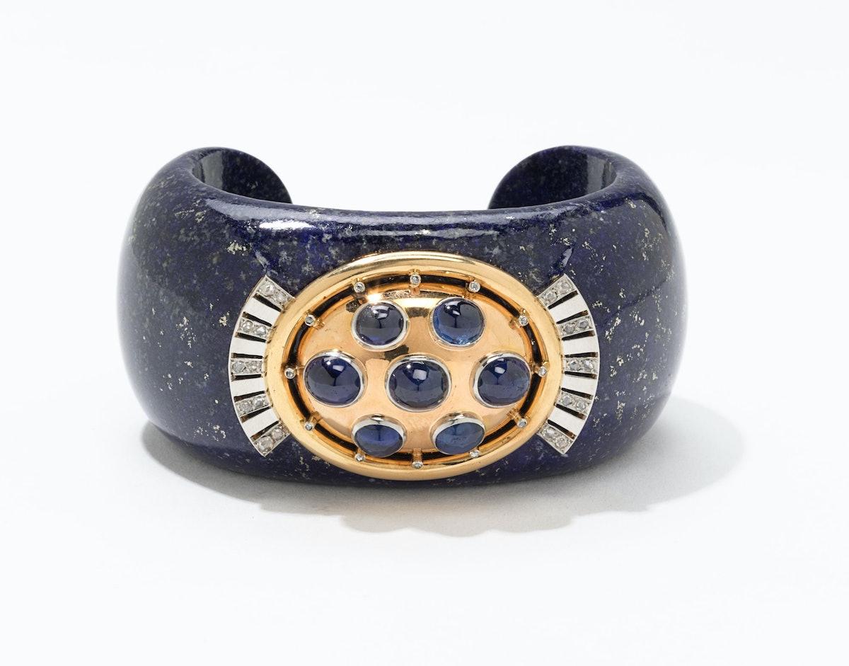 Verdura gold, platinum, diamond, lapis, and sapphire cuff, $24500, [Verdura](http://www.verdura.com), New York, 212.758.3388.