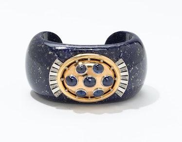 Verdura gold, platinum, diamond, lapis, and sapphire cuff, $24500, [Verdura](http://www.verdura.com)...