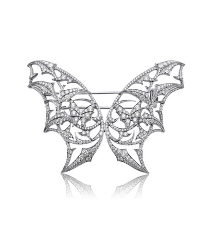 Stephen Webster Fly by Night Batmoth brooch in 18k white gold and diamonds, $45000, [stoneandstrand....