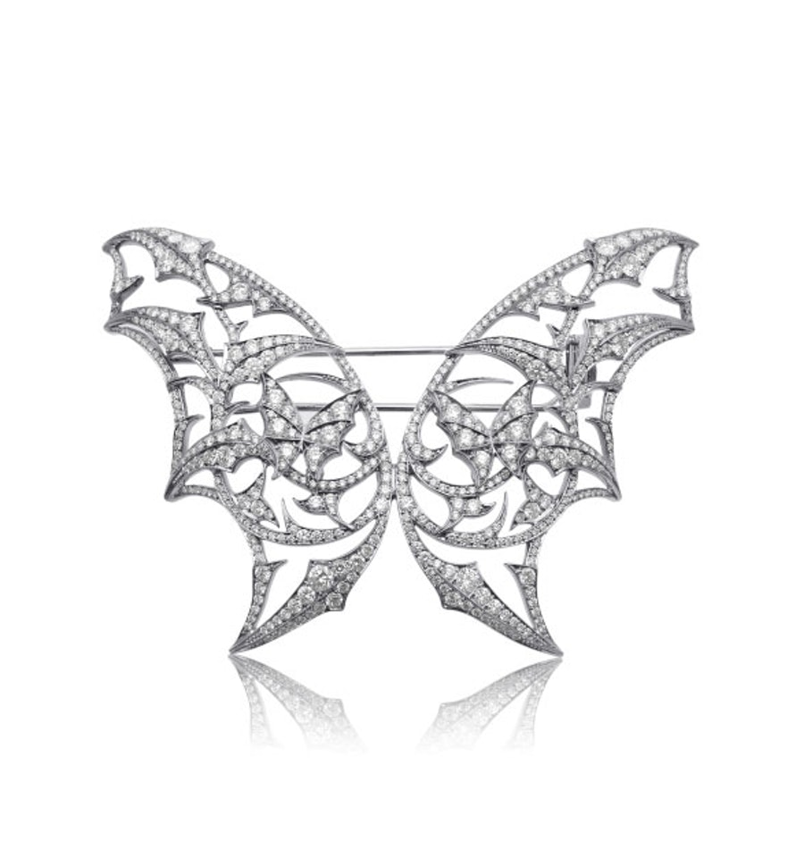 Stephen Webster Fly by Night Batmoth brooch in 18k white gold and diamonds, $45000, [stoneandstrand.com](http://www.stoneandstrand.com/other/fly-night-batmoth-brooch).