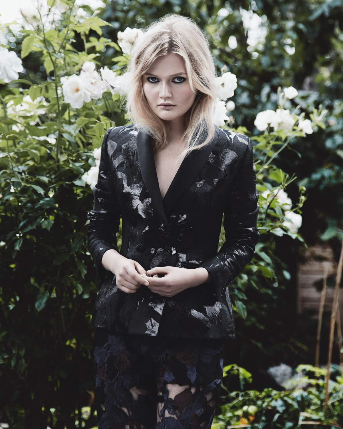 Sophie Kennedy Clark wears Peter Pilotto jacket and trousers. Beauty note: Outline eyes in pure blac...