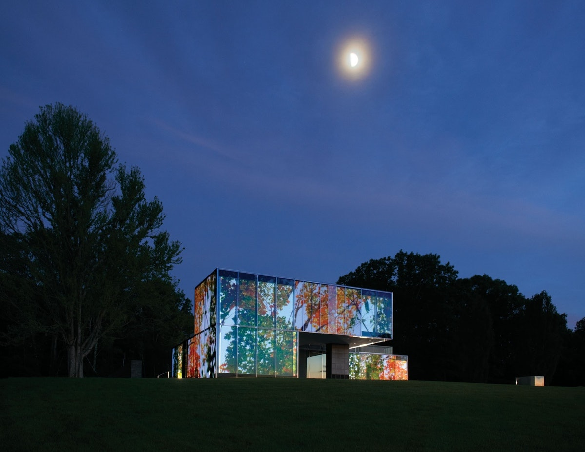 The house, activated by the artist Doug Aitken's multifaceted projection *Lighthouse*, 2012.