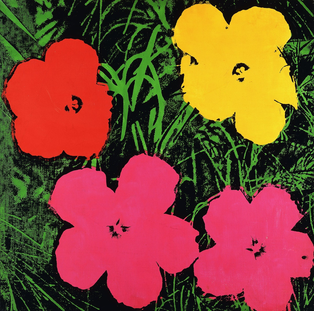 Warhol's *Flowers*, 1970, which inspired the new prints.