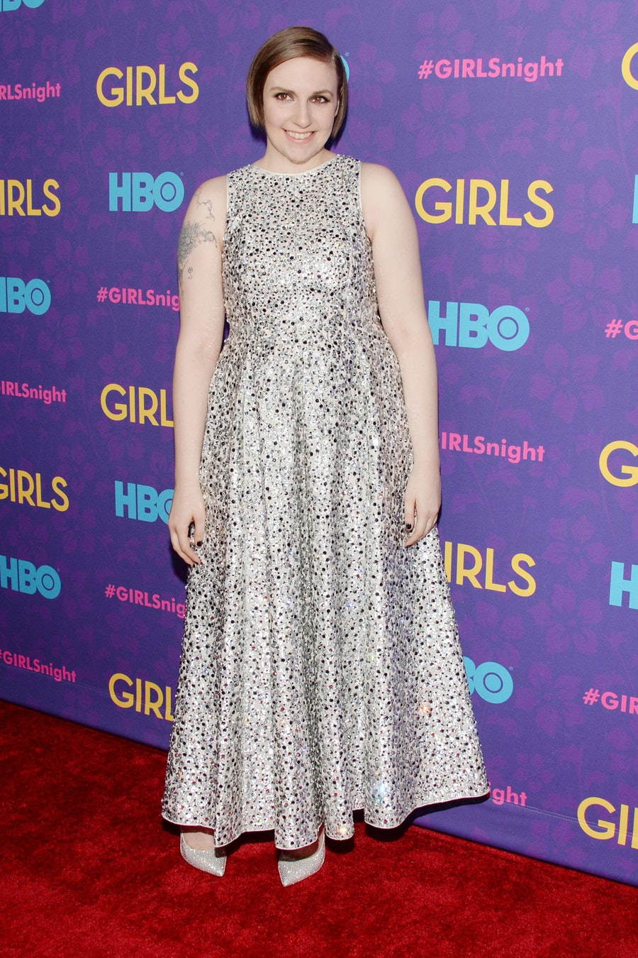 Lena Dunham in Rochas. Photo by Patrick McMullan.