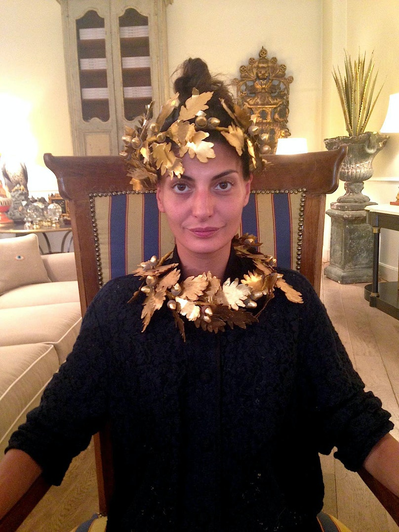 """""""The day after the Dolce & Gabbana show in Milan, where many of the models wore headpieces, I found these handmade gold emperor crowns at the store L'Oro dei Farlocchi. It was kismet."""""""
