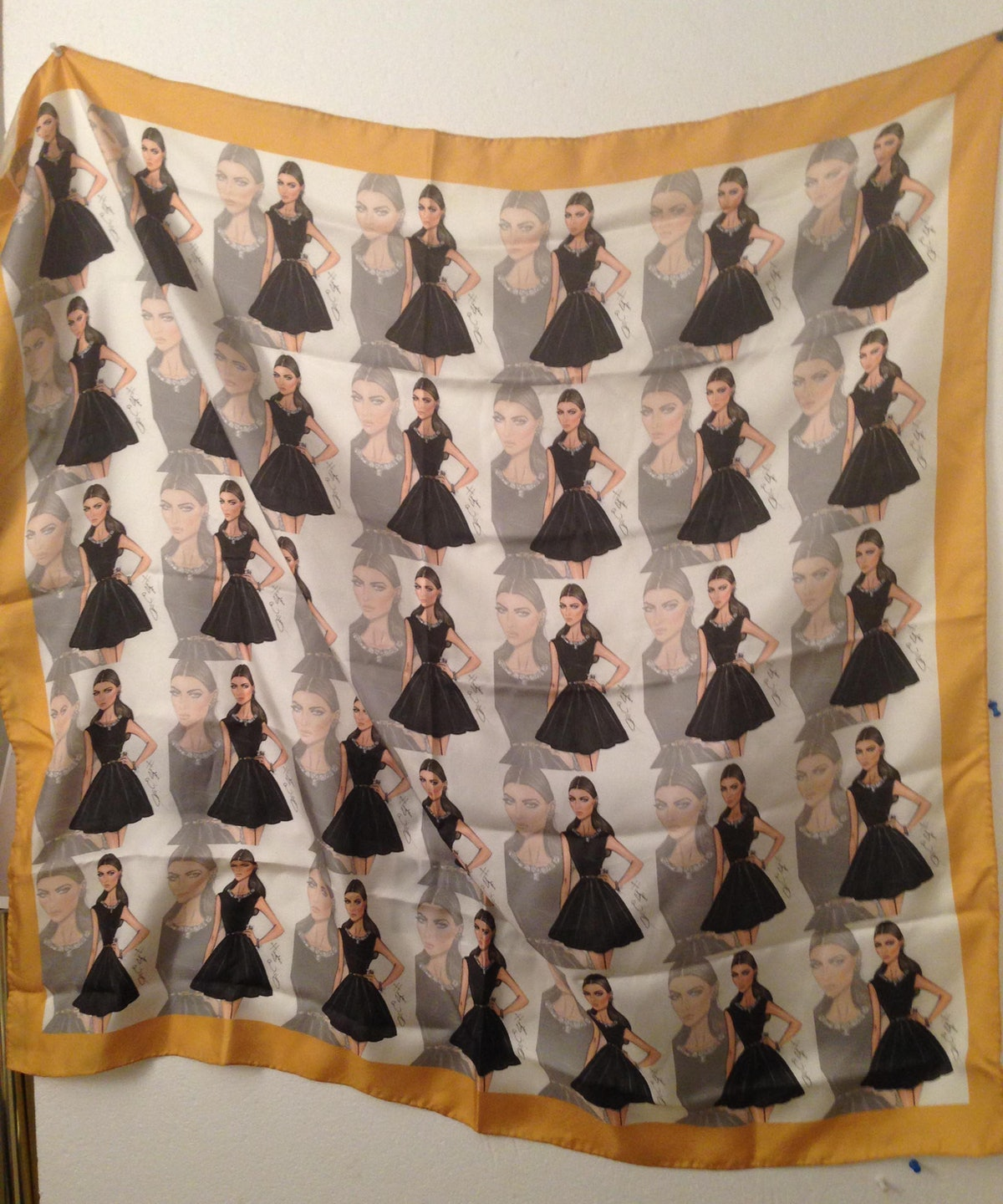 """""""The jewelry designer Sue Gragg sent me this amazing scarf she had made using a print of me by Hayde..."""