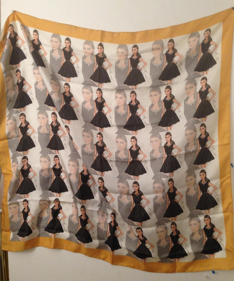 """""""The jewelry designer Sue Gragg sent me this amazing scarf she had made using a print of me by Hayden Williams . Normally, I'm not a fan of logos, but this is fine because I'm the logo. I'm my own favorite brand."""""""