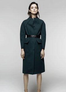 """__Nina Ricci Pre-Fall 2014__       """"I'd love to add this beautifully structured, emerald green coat ..."""