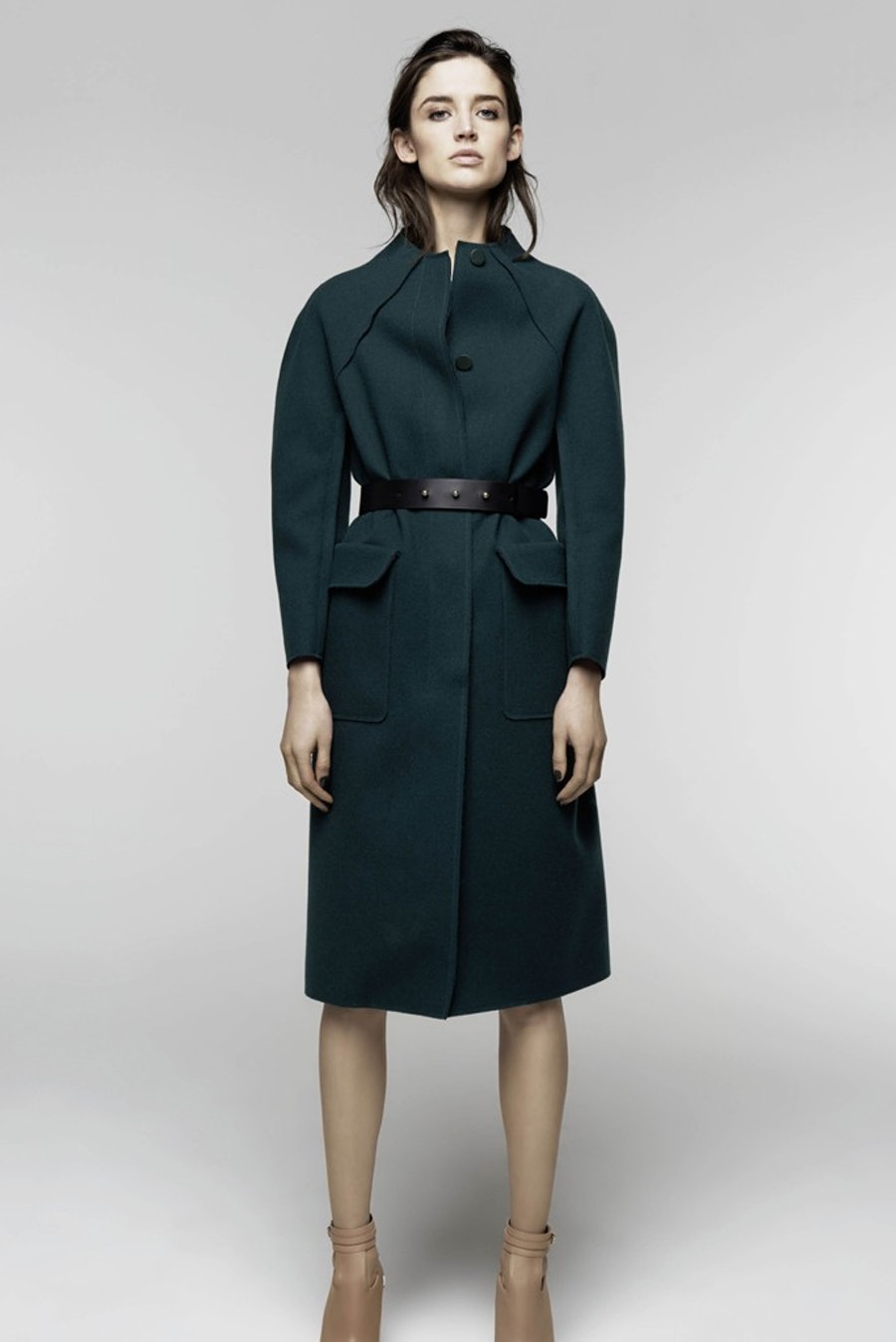 """__Nina Ricci Pre-Fall 2014__       """"I'd love to add this beautifully structured, emerald green coat to my collection."""" - Karla Martinez de Salas"""