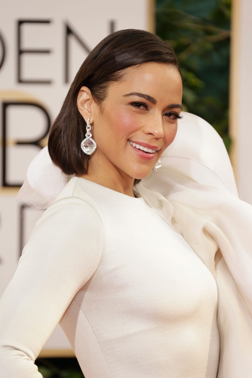 We know it's asking the impossible, but if you can look past (or, over?) the dress, __Paula Patton__'s slicked bob and neutral-toned makeup almost made up for her sartorial question mark.