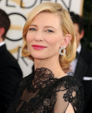 Friend and longtime makeup artist Jeanine Lobell created __Cate Blanchett__'s soft, elegant makeup, ...