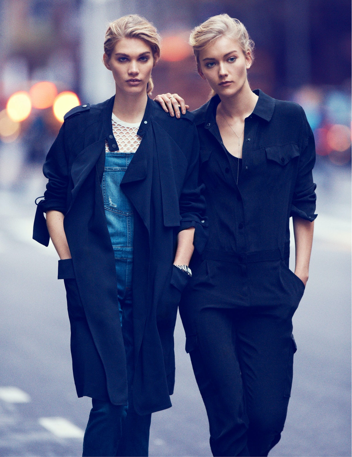 A.L.C. trenchcoat; Guess overalls; IRO top; ESQ Movado watch. Milly jumpsuit and swimsuit; Carrie Ho...
