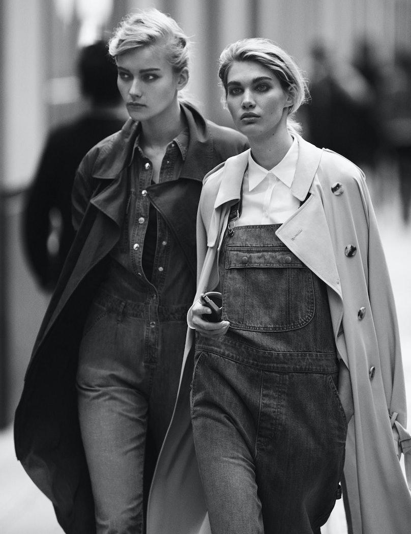 Lacoste coat; Michael Michael Kors jumpsuit; Joie top. DKNY trenchcoat; DKNY Jeans overalls; Basler shirt; Coach iPhone 5 case.