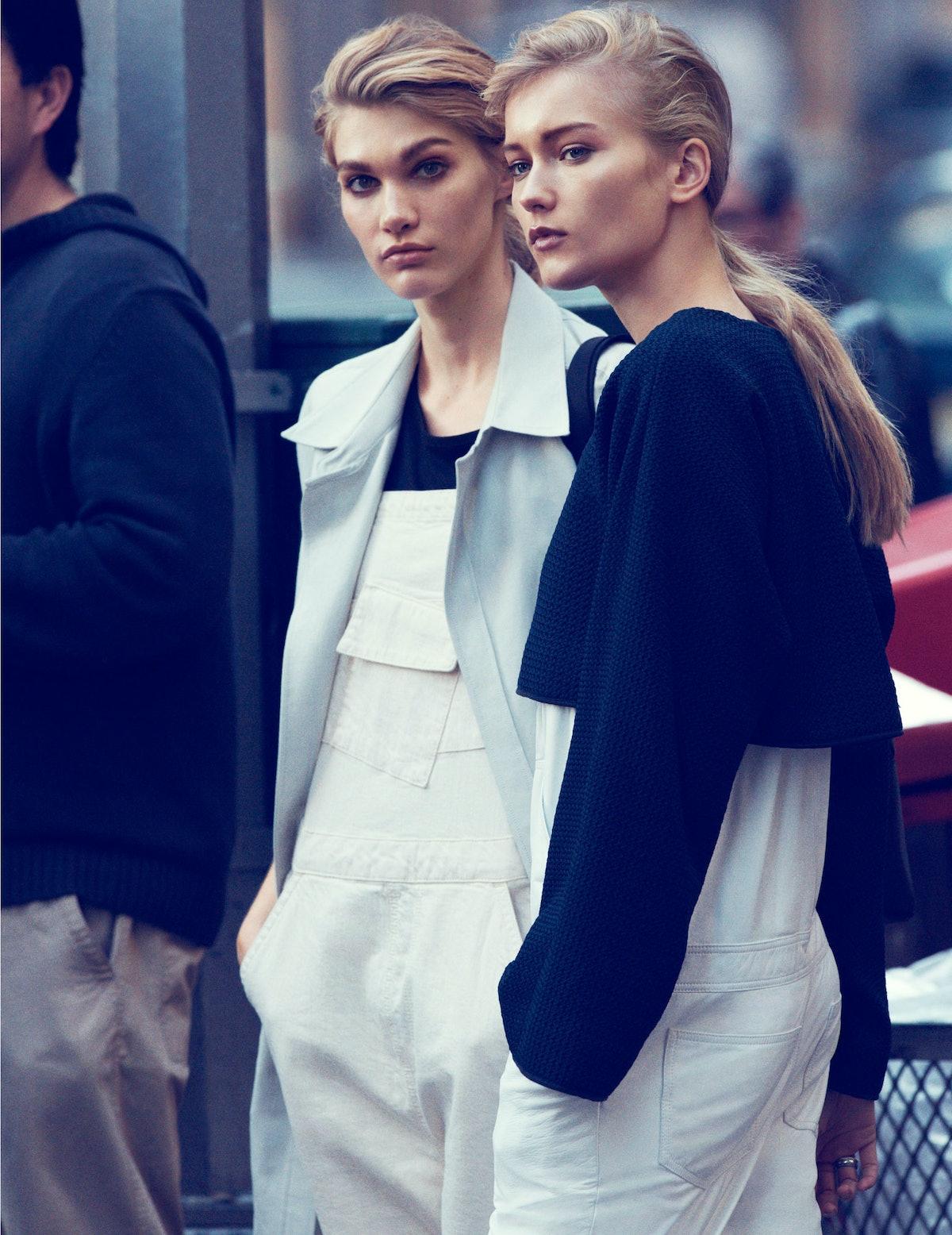 BCBG Max Azria coat; Kate Spade Saturday overalls; T by Alexander Wang T-shirt; Furla backpack. 10 C...