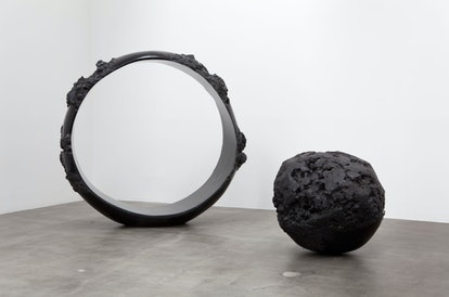 __Nobuo Sekine__   *Phase of Nothingness–Black No.36*   *Phase of Nothingness–Black No.49*, 1977-197...