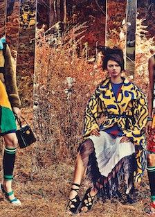 [Prada coat](http://store.prada.com/en/US/woman), dress, headpiece, bracelet, bag, leg warmers, and ...