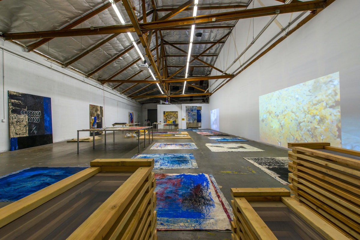 Oscar Murillo: Distribution Center, Installation View at The Mistake Room, Los Angeles, CA. Photo Credit: Josh White/JW Pictures.