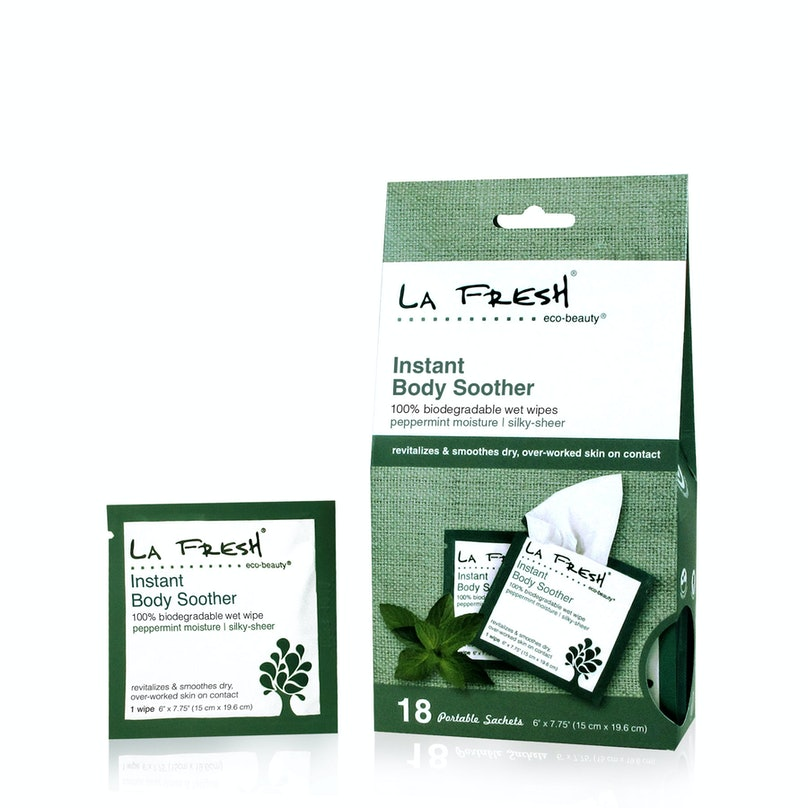 __Body Moisturizer:__ La Fresh Eco-Beauty Instant Body Soother Wipes, $11, [lefreshgroup.com](http://lafreshgroup.com)