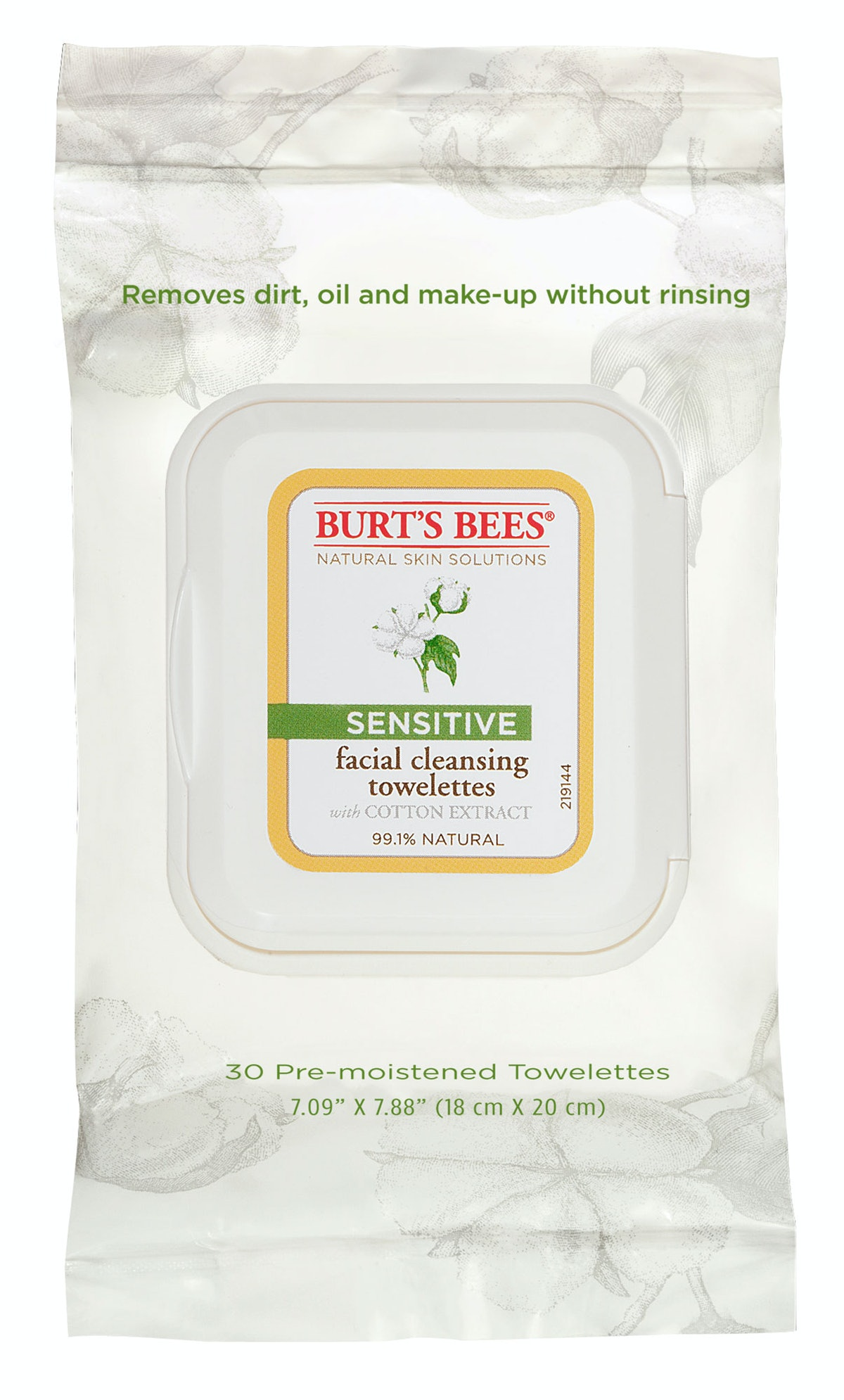 __Sensitive Skin Cleanser:__ Burt's Bees Sensitive Facial Cleansing Towelettes with Cotton Extract, ...