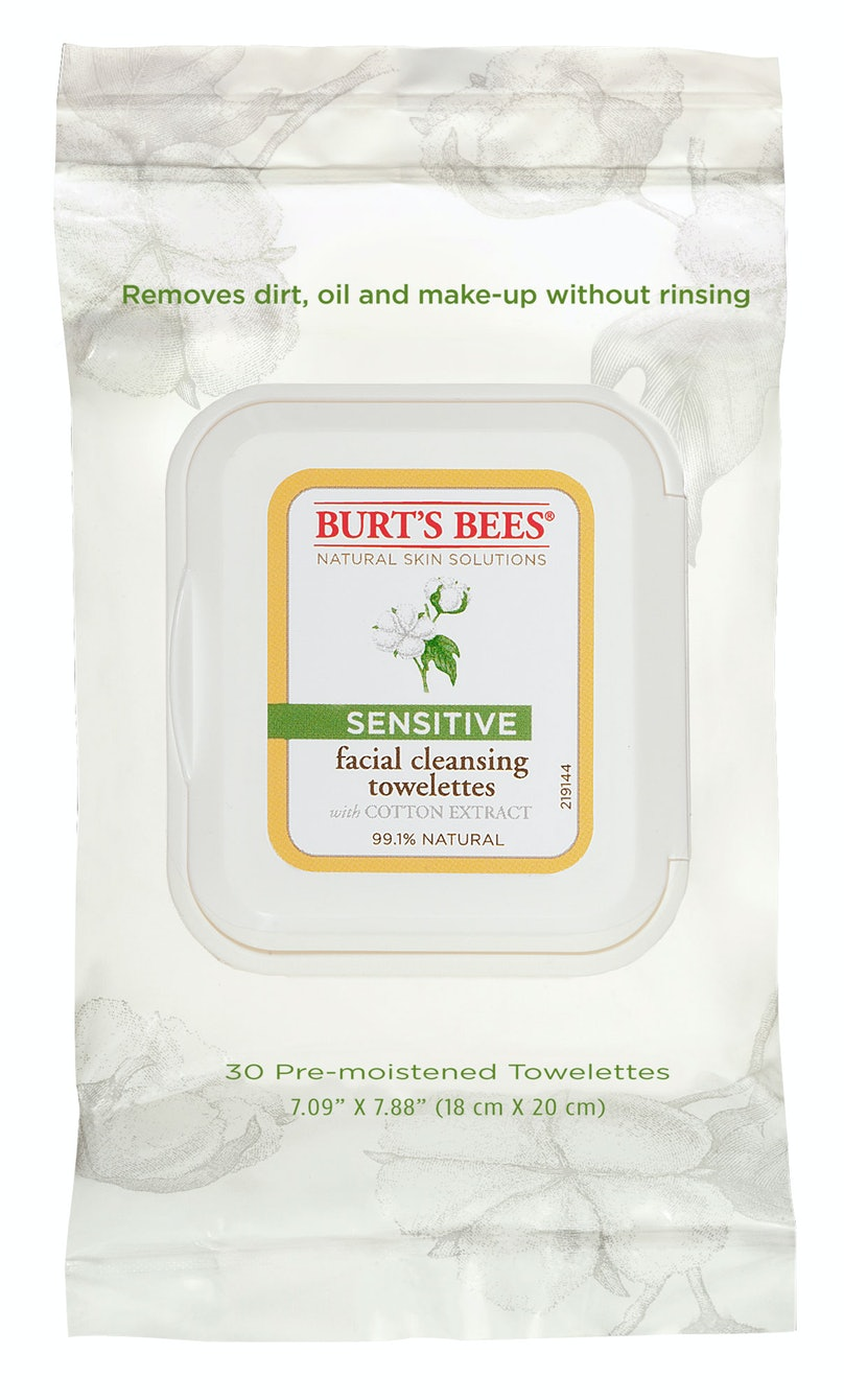 __Sensitive Skin Cleanser:__ Burt's Bees Sensitive Facial Cleansing Towelettes with Cotton Extract, $6, [burtsbees.com](http://www.burtsbees.com)