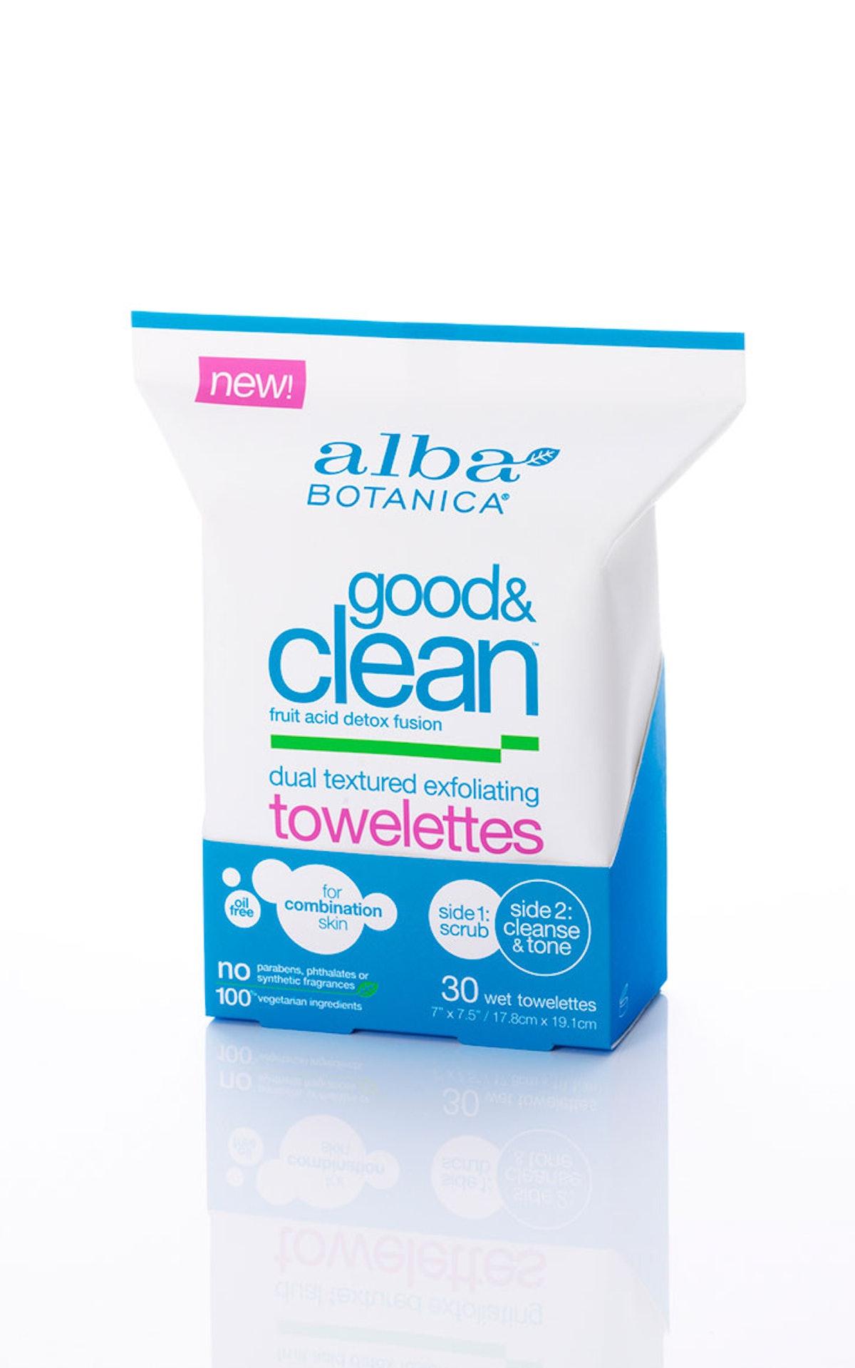 __Exfoliator:__ Alba Botanica Good & Clean Dual Textured Exfoliating Towelettes, $7, [albabotanica.c...