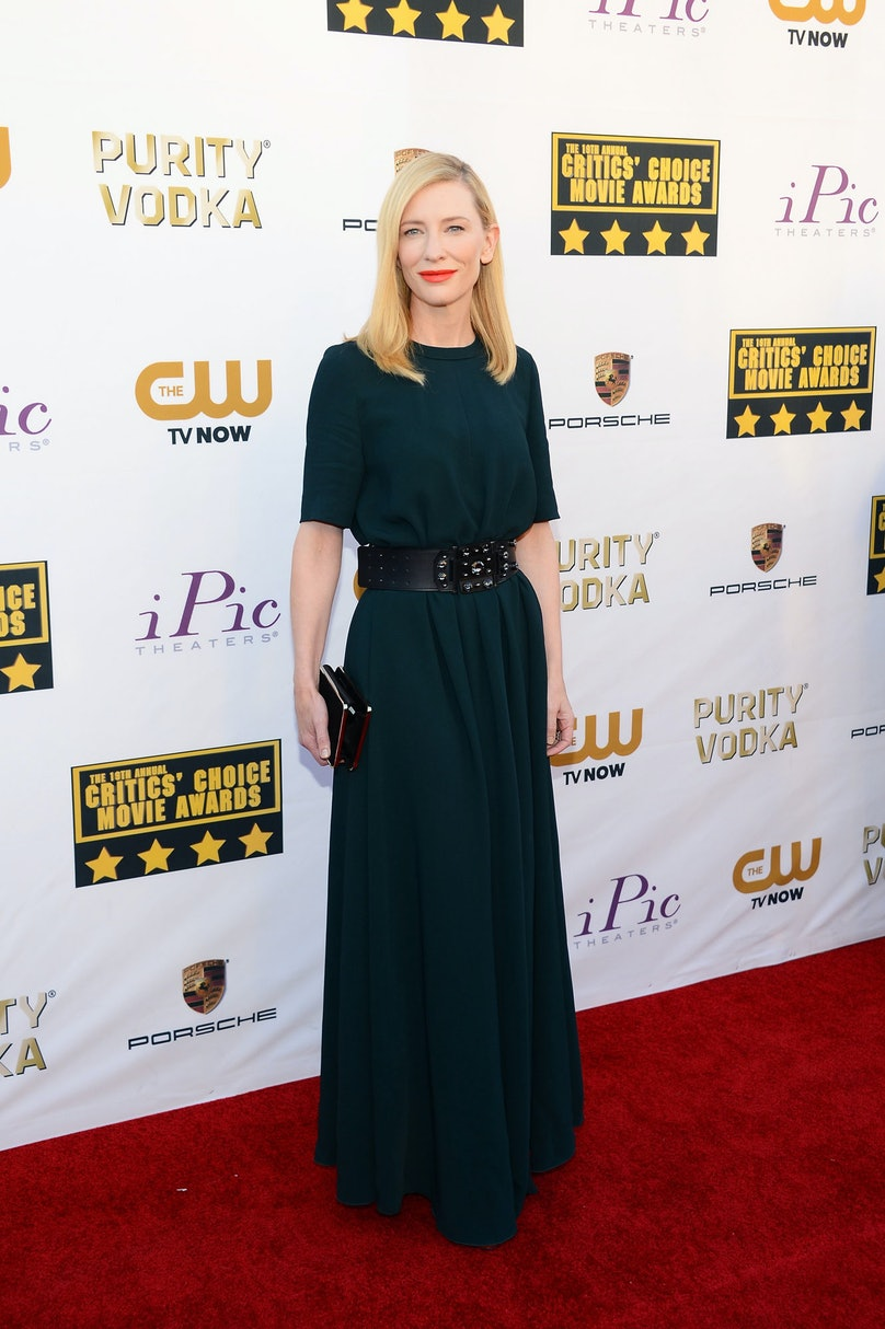 Not many could have pulled off [Lanvin's Pre-Fall](http://www.wmagazine.com/people/best-dressed/2014/01/cate-blanchett-best-dressed/) tent dress as well as Blanchett. The red carpet vet brightened up her Critics' Choice Awards ensemble with a red-orange lip and soft, simple hair.