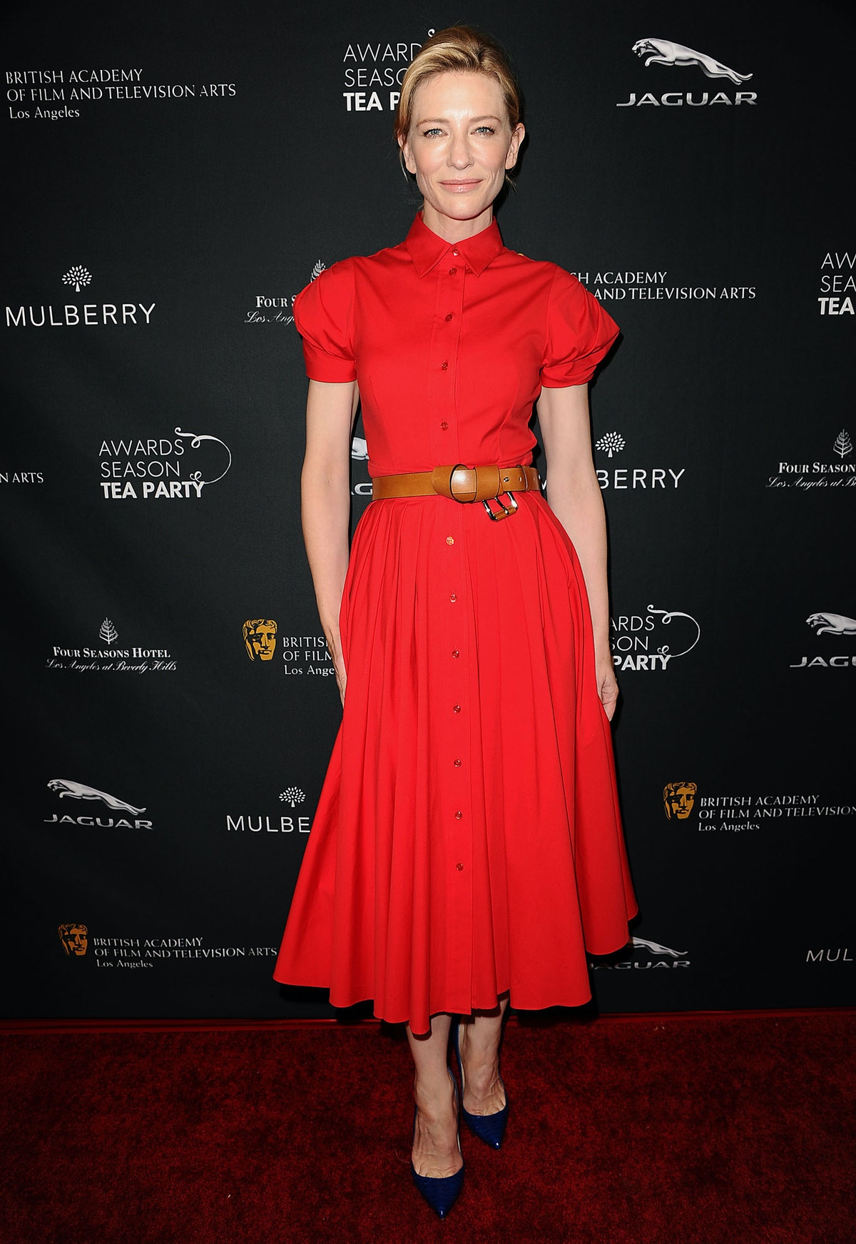 For the BAFTA Awards Season Tea Party, Blanchett wore a dainty buttoned-up [Michael Kors](http://www...